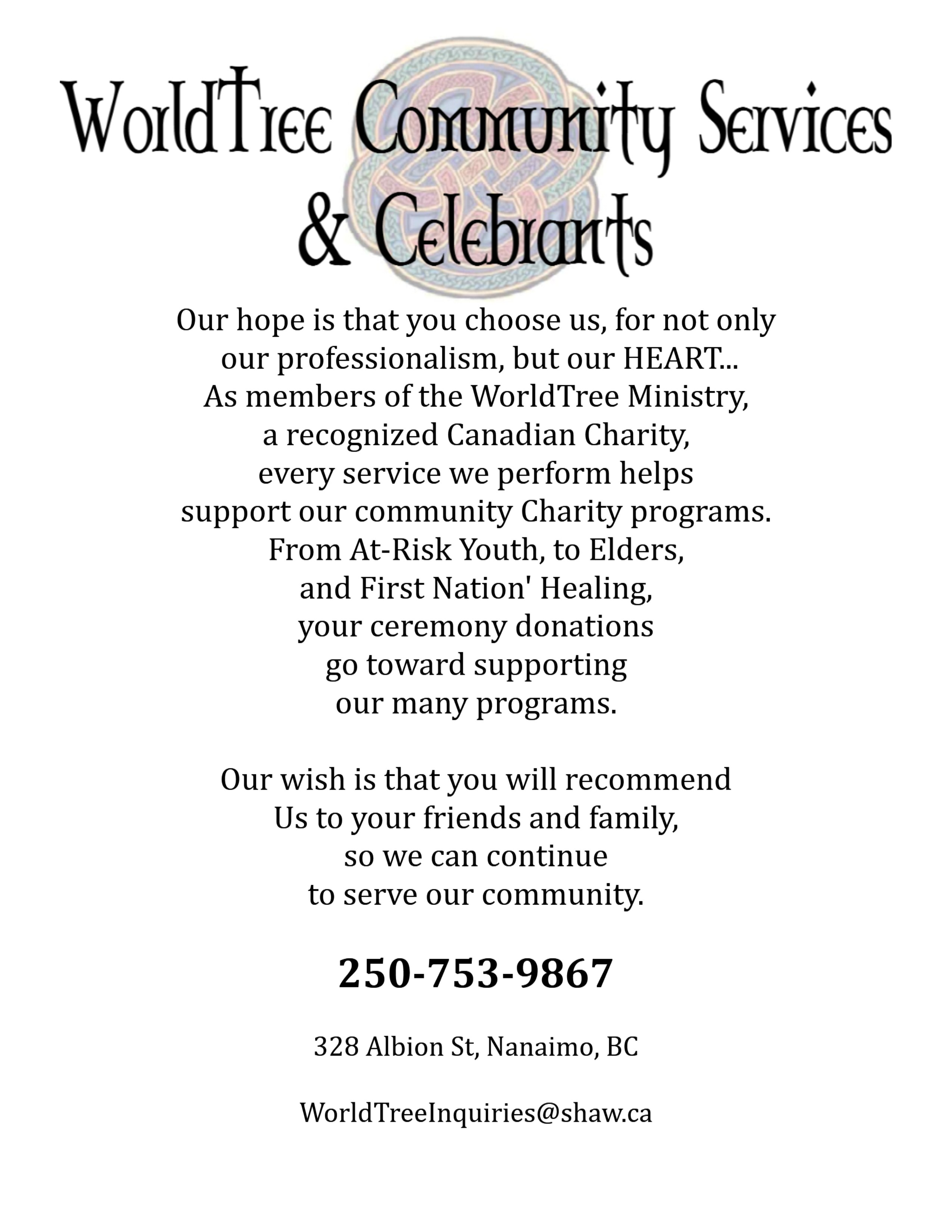 WTC services charity poster-celebrants